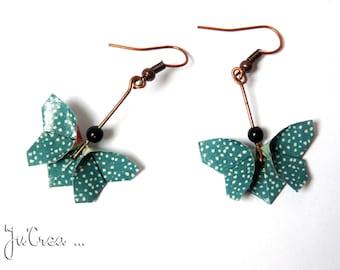 Pendientes del pavo azul mariposa de origami
