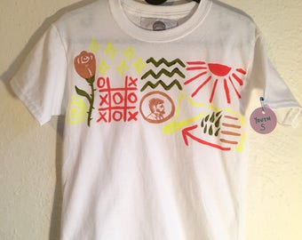 Hand Painted Youth S T-Shirt 〰 One of a Kind Painted Kids Clothing 〰 Created by Sam Pletcher