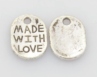 Made With Love Charms Antiqued Silver Charms Oval Jewelry Tags Wholesale Charms Bulk Charms 50 pieces
