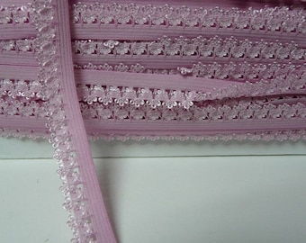 Pink lace 14mm picot edge elastic Ribbon by the yard