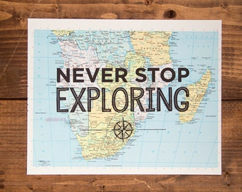 """Southern Africa Map Print, Never Stop Exploring, Great Travel Gift, 8"""" x 10"""" Letterpress Print"""