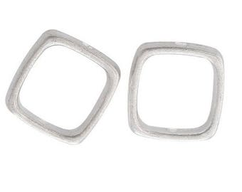 Set of 2 beads square shapes silver frames
