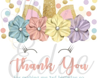Unicorn Themed Thank You Cards – Digital File Only