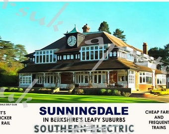 Vintage Style Railway Poster Sunningdale A3/A2 Print