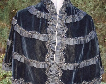 Reduced Original Circa 1870/1890 Victorian Velvet Capelet Jet Beaded Ribbon/ Lace Ruffles Size Small  Item # 124 Victorians