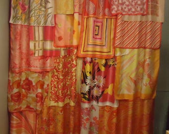 "Shades of Orange, Yellow & Pink Gypsy Boho Curtains - 84"" long"