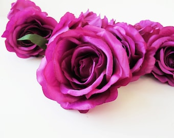 "Purple Roses 10 Silk Artificial Flowers Rose measuring 4.5"" Floral Hair Accessories Flower Supplies Faux Fake DIY Wedding Flowers"