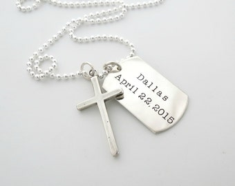 Mens Cross Necklace - Personalized Necklace - Godfather - Guys Jewelry - Son - Daughter - Personalized Jewelry - Dad - Grandpa - Engrave