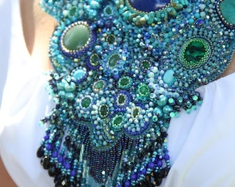 Moonlight magic embroidered necklace