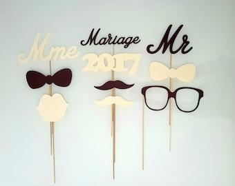 Lot photobooth wedding Mr Mrs - ivory and chocolate