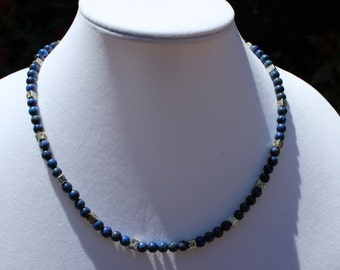 Gemstone Necklace, Statement Necklace, Blue Lapis Necklace, Sterling Silver Necklace, Victorian, Beaded Necklace