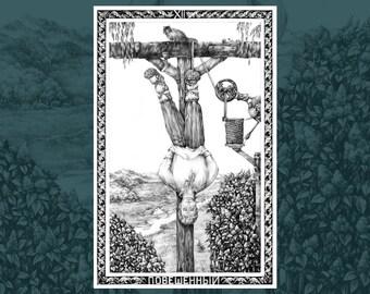 The Hanged Man • Russian Tarot Art Print   Art poster   Wall art   Fine art print   Graphic Art   Ballpoint Pen Art   Home decor   Gift