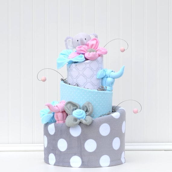 Diaper Cake Pink Elephant Baby Shower Decor Pink Aqua Gray