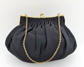 ON SALE Vintage Morris Moskowitz Black Crepe Evening Bag with Gold Frame & Chain Handle