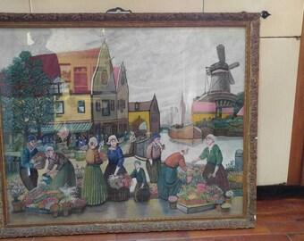 Antique Folk Art Painting Oil on Canvas