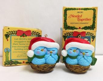 Vintage 1982 Nestled Together Avon Christmas Keepsake Ornaments