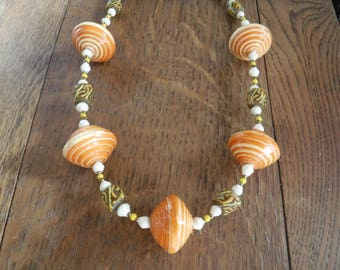 African Orange Yellow Paper and Sandcast Bead Necklace