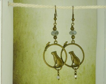 Bronze earrings - cat and mouse - vintage