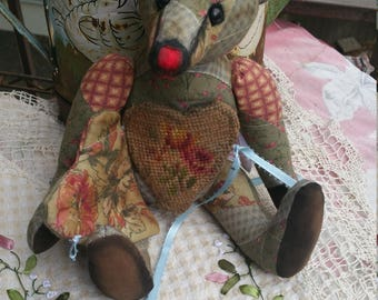RESERVED***Heavenly - 11 inch vintage patchwork bear with vintage needlepoint heart front