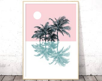 Palm Tree Print, Pastel Art, Tropical Print, Palm Print, Pastel Decor, Pastel Prints, Pink, Modern Minimalist, Nature Art, California Print