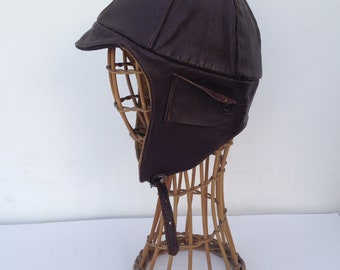 Pilot Helmet Cap | Vintage | 1940s | Leather | Brown | Motorcycle | Aviator cap | Steampunk