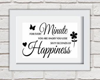 For Every Minute Framed Quote Print Mounted Word Art Wall Art Decor Typography Inspirational Quote Home Gift