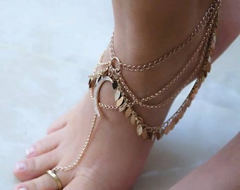 Rose Gold Boho Foot Chain | Barefoot Sandals For Summer | Bridesmaid Gift | Gypsy Style Jewelry | Moon Anklet | Oriental Layered Foot Chain