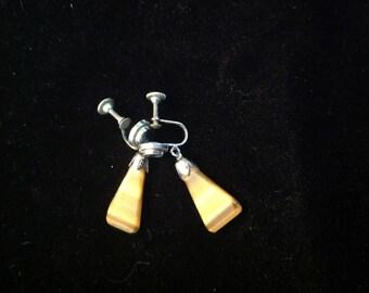 Vintage screw back drop earrings, screback polished stone earrings, drop earrings, screw back earrings, tigers ete earrings, polished stone