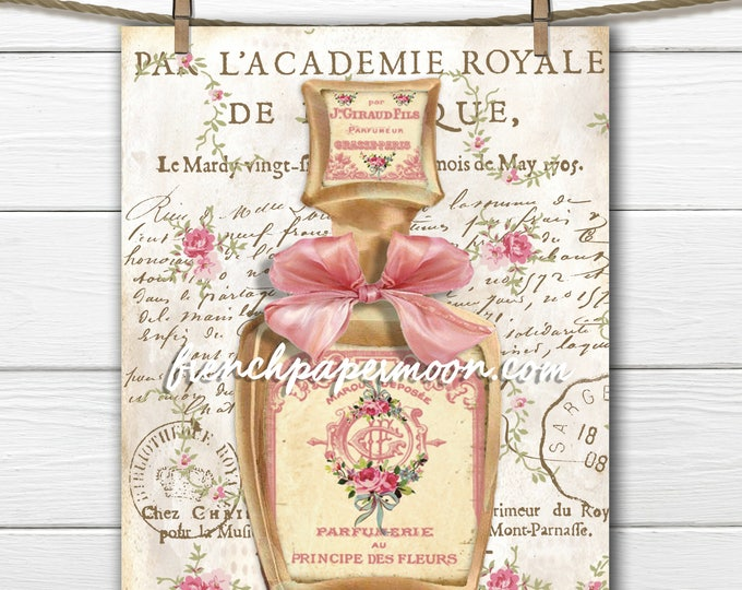 Shabby Vintage French Perfume Digital, Perfume Bottle Roses Bow Digital Download, French Pillow Graphic transfer
