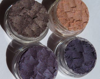 4 Piece Set Vegan Beauty Mineral Makeup Gift |  Purple Eye Shadows | Cafe Shimmer | Camelot - Bride's Beauty Makeup gift set - Fan Favorite!