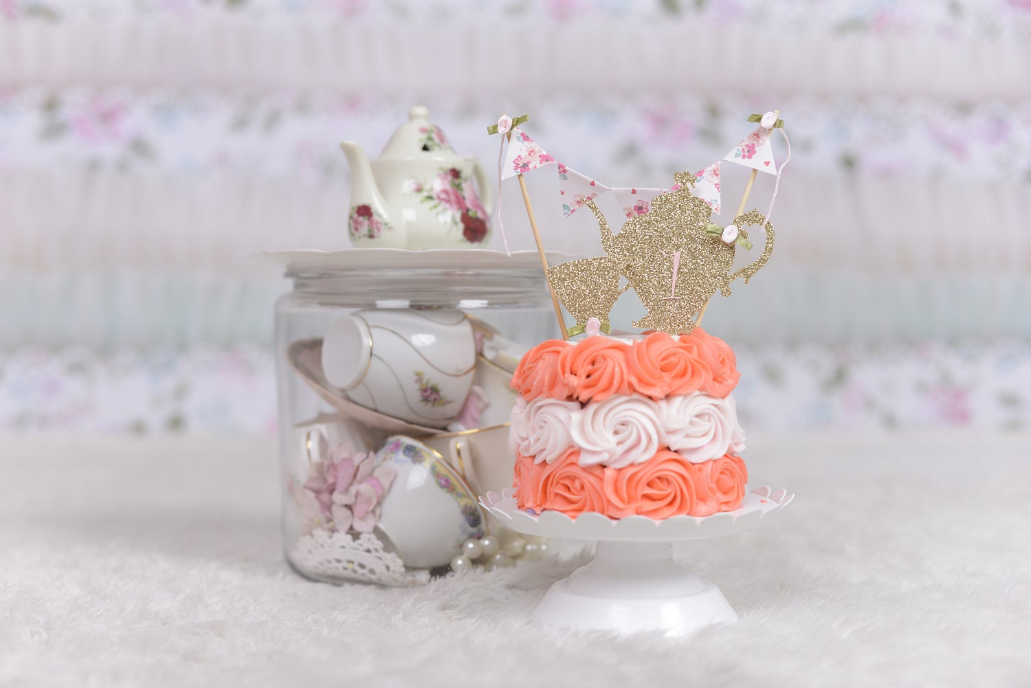 Tea party cake topper, tea party decoration, teapot cake topper ...