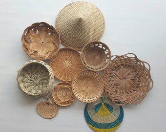 Basket Wall Art / Bamboo Basket / Wicker Basket Set / Boho Decor / Basket Set / Vintage Basket / Boho Art