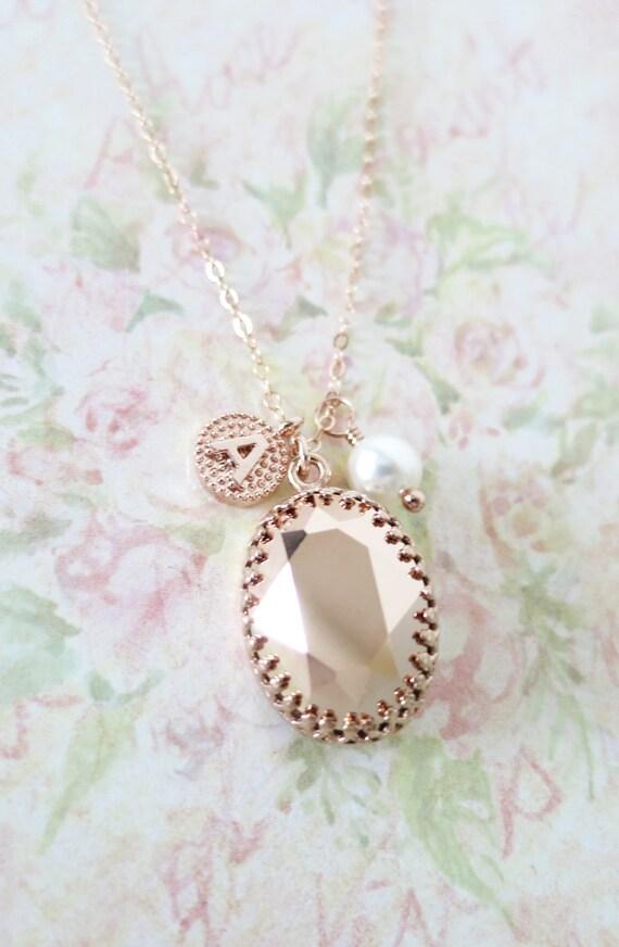 Rose Gold FILLED Swarovski Rose Gold Oval Crystal Necklace, blush pink wedding bridal, bridal bridesmaid gifts, pink gold weddings