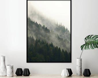 Downloadable Forest Print, Printable Art, Forest, Mountain, Mist, Misty, Scandinavian, Minimalist, Poster, Art, Print, Wall Decor, Wall Art