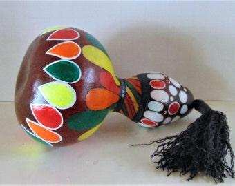 Original Hand Made Festive Gourd Art Rattle