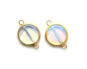 Pearl Glass Round Connector - Gold plated Bezel - 1 pc