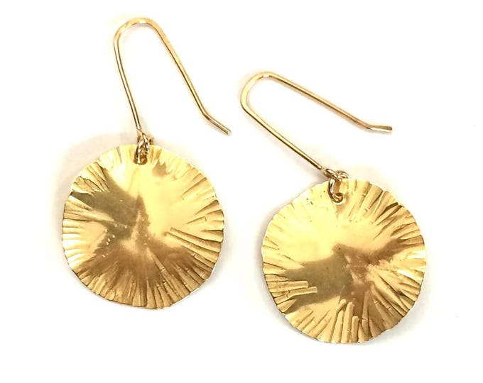 Sun Disc Drop Earrings
