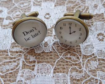 "Personalised Handcrafted ""Don't be late"" Groom Cuff links - Groomsman gift, wedding cufflinks, groom cufflinks, groom gift, Free UK Shipping"