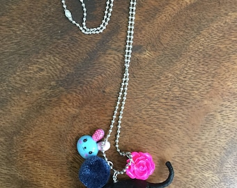 Black Panther Pendant with Blue Bunny