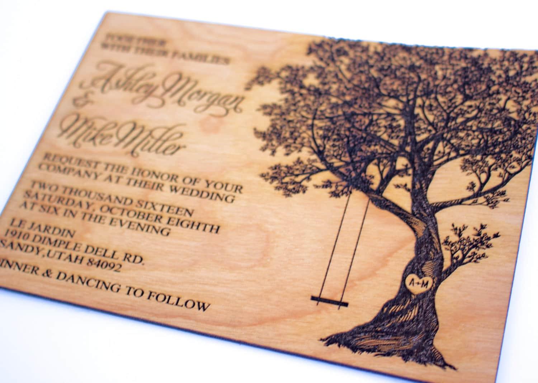 Wood wedding invitation tree with swing wood invitation zoom reheart Choice Image