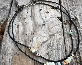 Sterling Silver Leather Necklace Handmade By Wild Prairie Silver Jewelry Artist Joy Kruse