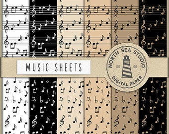SING IT, Music Digital Paper, Music Sheet Paper, Musical Themed, Commercial License, Instant Download, Music Scrapbook Papers, BUY7FOR10