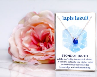 Lapis Lazuli Necklace / Healing Crystal Jewelry / Gemstone Necklace / Gift for Her / Bridesmaid Gift / Delicate Necklace / Minimalist