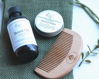 Beard Grooming Gift Set, Beard Oil, Beard Comb, Beard Conditioner, Fathers Day Gift