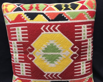 """1970's Needlepoint Pillow with Velvet Back and Felt Piping 15"""" Square"""