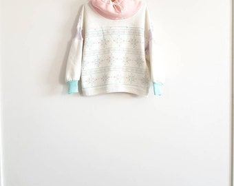 Vintage White and Pink Sweater