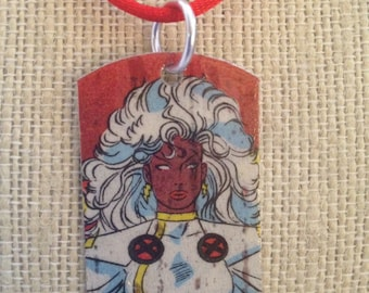 Storm upcycled comic book dog tag, includes necklace AND keychain