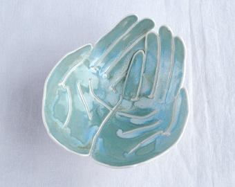 OFFERING hands bowl, life size, turquoise aqua glaze