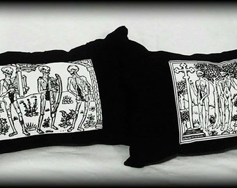 Danse Macabre pillow set, gothic decor, gothic pillow, horror decor, horror