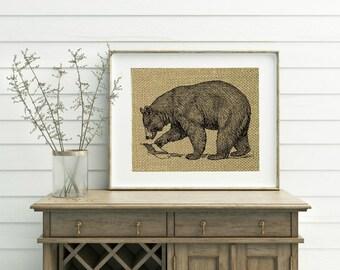 Black Bear Print - Burlap Print - Black Bear Decor - Cabin Decor - Bear Print - Cabin Decorations - Lodge Decor - Mountain Home Decor